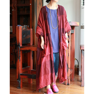 Image 2 - Johnature Women Vintage Trench Plaid Coats Pockets 2020 Autumn New Linen Cardigan Loose Casual Women Cloths Chinese Style Trench