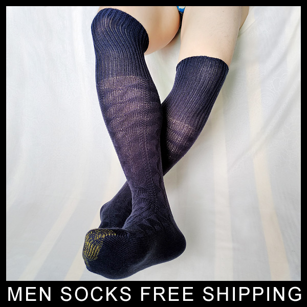 High quality Mens Over Knee Socks Stocking Brand New Thick Male Knitted Hose Cotton Winnter Warm Formal Socks