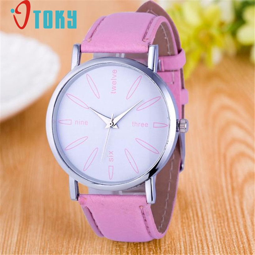 Luxury Fashion Women Stainless Steel Leather Band Quartz Analog Watch Sport Wrist Watch Women Watches relogio