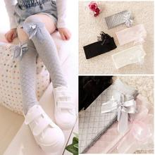Cute Girls Kids Baby Multicolored Cotton High Knee Socks Gridding Bow Stockings for 3-8 years old
