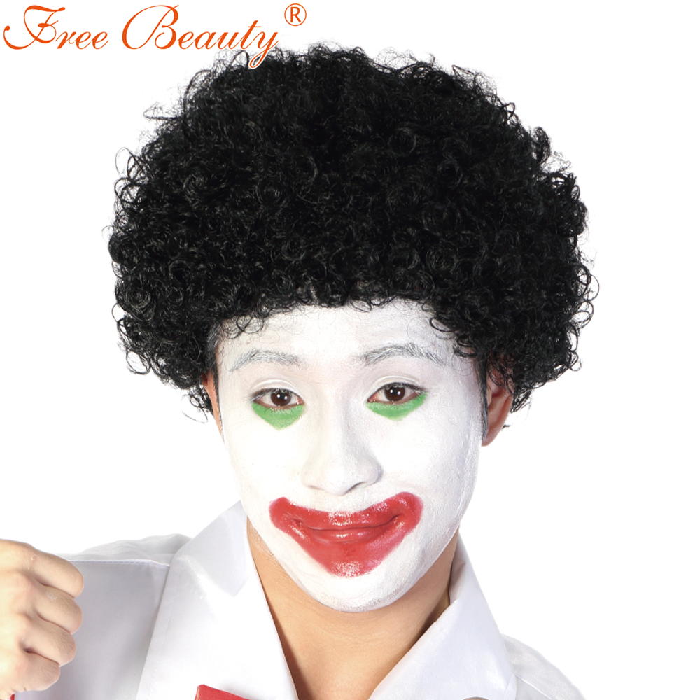 Free Beauty 10 Short Black Clown Wig Synthetic Hair Curly Soccer Wig For Men Party Perucas 6 Colors