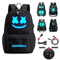 DJ Marshmallow школьные рюкзаки для подростков мальчиков и девочек студенческие сумки USB многофункциональная дорожная светящаяся сумка для ноутб...
