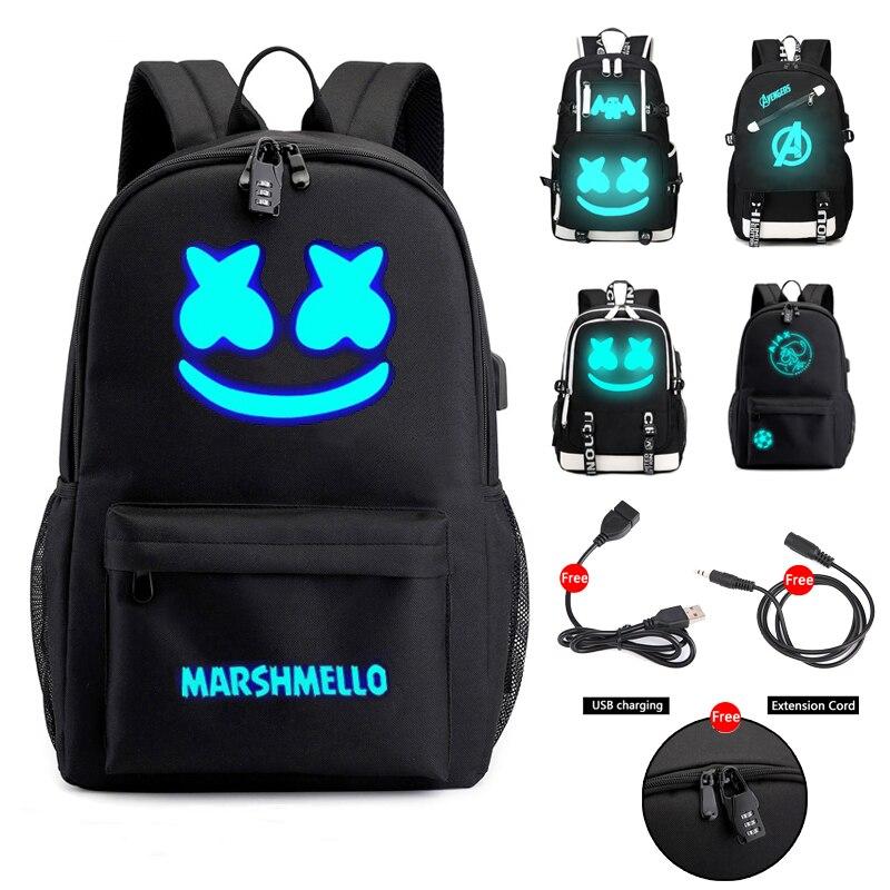 Dj marshmallow mochila mochilas escolares para adolescentes meninos meninas estudante sacos de viagem usb multifunções luminosa saco portátil pacote