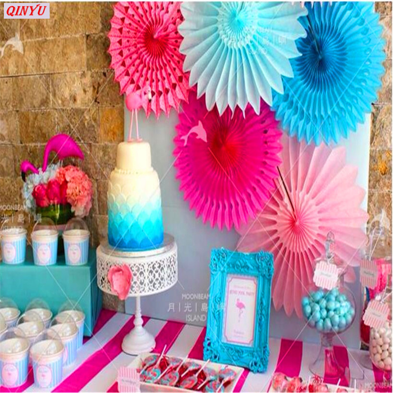 New 5pcs Tissue Paper Fan Diy Crafts Hanging Wedding: 1pcs Colorful Wheel Tissue Paper Fan Pinwheels Hanging