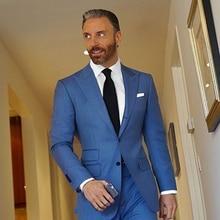 New Style Light Blue Men Suit Slim Fit 2 Piece Tuxedo Custom Groom Stylish Suits Prom Blazer Terno Masculino (Jacket+Pants)