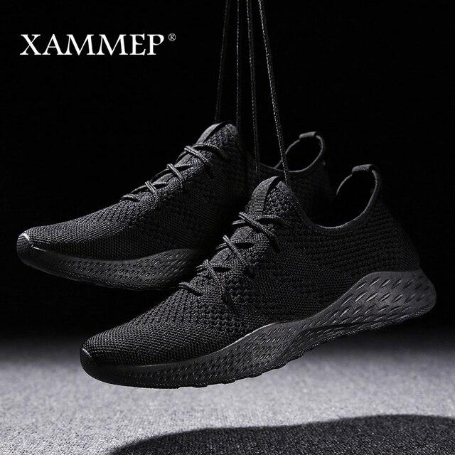 Erkekler rahat ayakkabılar Erkekler Sneakers Marka erkek ayakkabısı Erkek Örgü Flats Loafers Kayma Büyük Boyutu Nefes Bahar Sonbahar Kış Xammep