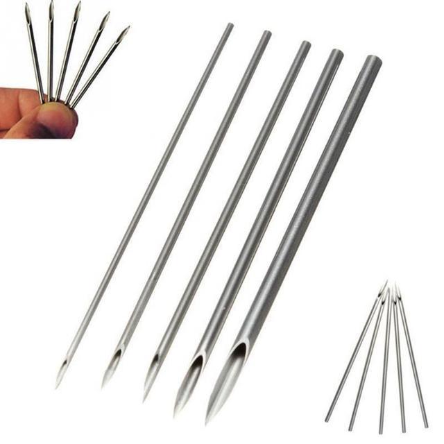 10 piezas agujas estériles de Piercing para el cuerpo agujas de tatuaje médico agujas de Piercing para el ombligo de la nariz de la oreja del labio 12g/ 14g/16g/18g/20g