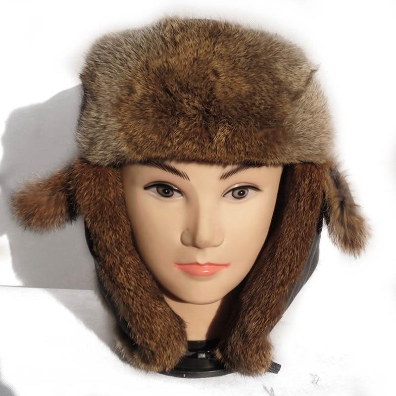 (TopFurMall) Genuine Real Rex Rabbit Fur Bomber Hats Winter Warm Caps Fashion Ear Protector Headgear LF6004