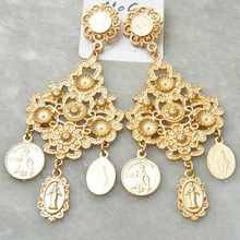 gold Exaggerated Baroque Earrings Temperament Retro Metal Coins Exquisite Flowers Drop Women girls