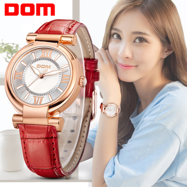 DOM Brand Luxury Ladies Fashion Casual Quartz Wristwatch With Leather Strap