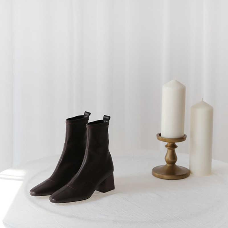 Yarım çizmeler 2019 sonbahar ve kış yeni botlar kadın yüksek topuklu elastik çizmeler büyük boy bot