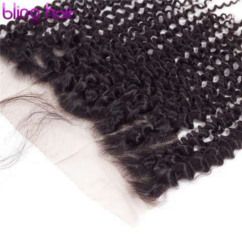 """Bling Hair Brazilian Kinky Curly Hair 13*4 Lace Frontal Closure With Baby Hair 100% Remy Human Hair Closure Natural Color 8""""-22"""" Islamabad"""