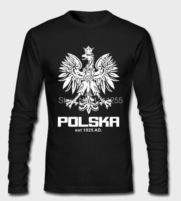Для мужчин футболка Polska польский танец Футбол Польша Футбол футболка с длинными рукавами, 100% хлопок печатных пользовательских длинная футб...