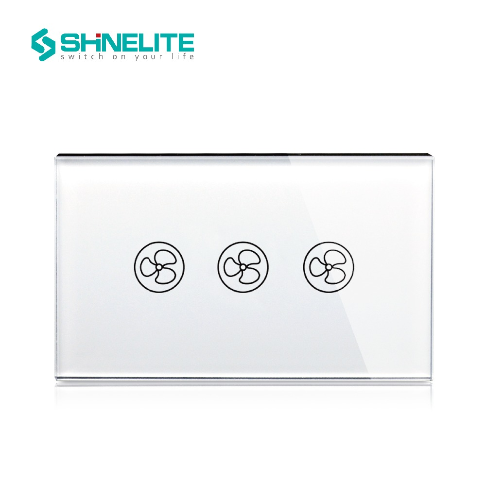 Shinelite Free Shipping White Crystal Glass Panel, US/AU standard Wall Switch, Fan Touch Home Wall Light Switch smart home us au wall touch switch white crystal glass panel 1 gang 1 way power light wall touch switch used for led waterproof