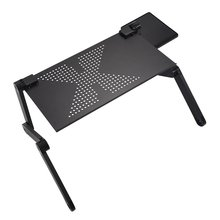 Portable Foldable Adjustable Laptop Desk Computer Table Stand Tray For Sofa Bed Black(China)