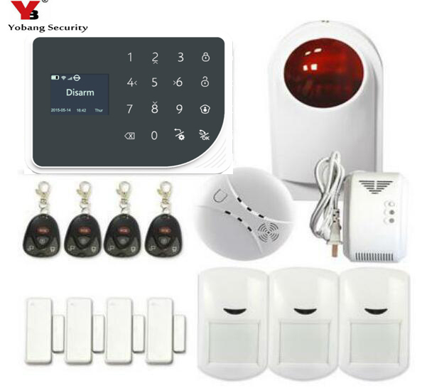 YoBang Security Wireless Alarm Home Safety Radio Frequency GPRS Alarm System Application Remote Control Gas Smoke Fire Sensor.