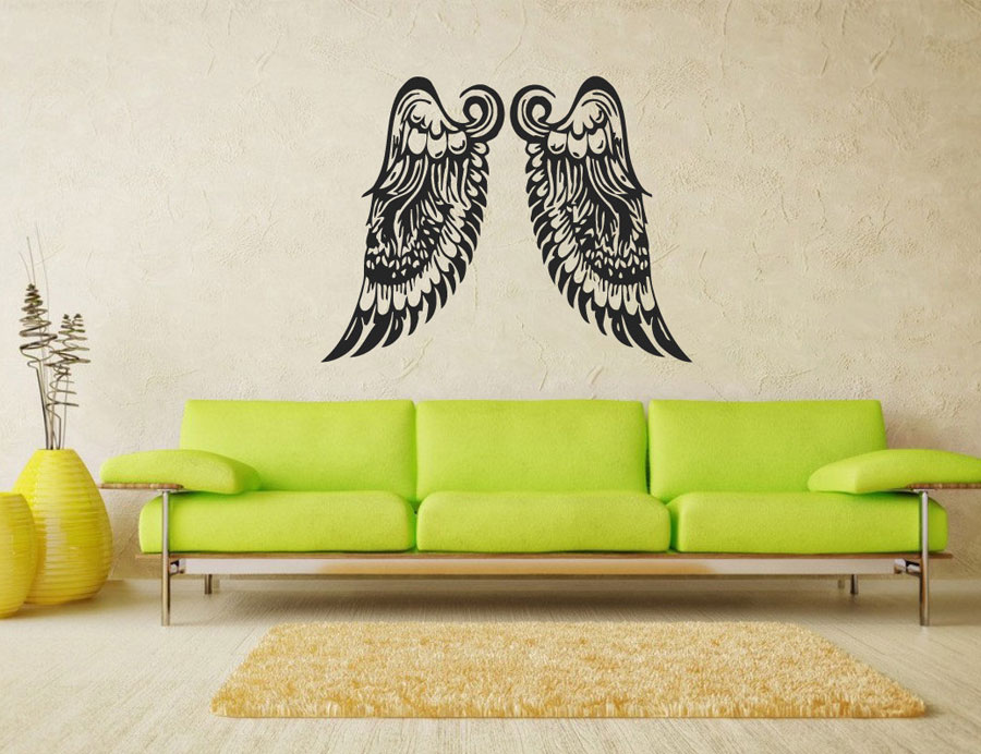 Angel Wings Wall Decal Vinyl Sticker Big Wings Home Decor Art Mural Bedroom Dorm Nursery Living Room Interior Design C401 in Wall Stickers from Home Garden