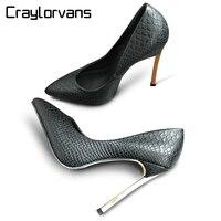 Craylorvans التمساح مطبوعة معدنية رقيقة كعوب النساء مضخات أسود أبيض اللون مثير الزفاف أشار تو chaussure