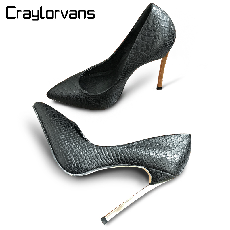 Craylorvans Top Quality Crocodile Printed Metal Thin Heels Women Pumps Black White Color Sexy Wedding Pointed Toe chaussure jack of fables vol 9 the end