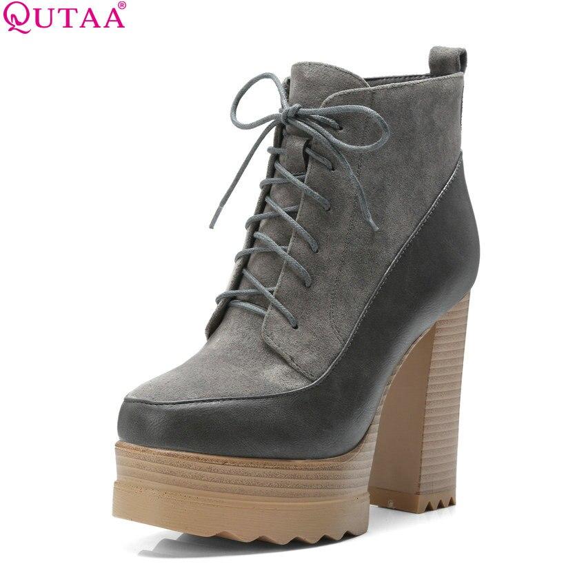 QUTAA 2020 New Fashion Women Ankle Boots Platform Zipper All Match Winter Boots Square High Heel