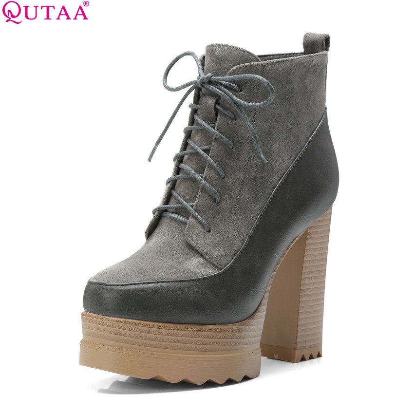 QUTAA 2019 New Fashion Women Ankle Boots Platform Zipper All Match Winter Boots Square High Heel Women Boots Big Size 34-42 qutaa 2019 winter boots women ankle boots all match platform zipper square high heel cow leather pu women boots big size 34 39