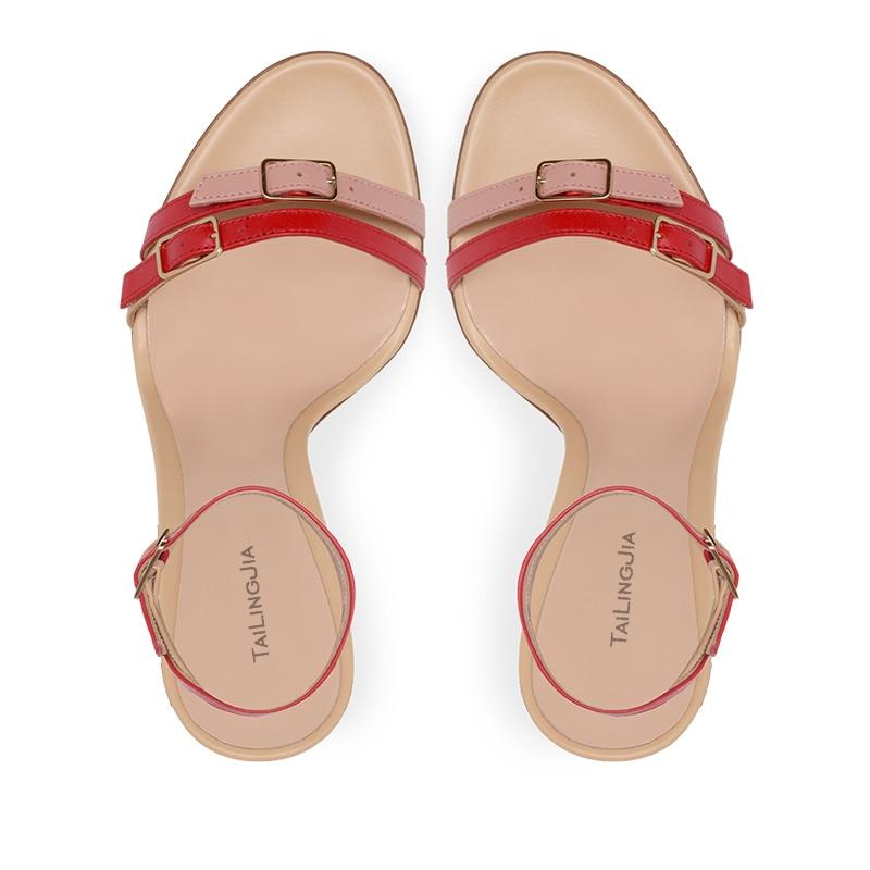 Модные Разноцветные босоножки с пряжкой в клеточку, женские босоножки на шпильке, белые босоножки на высоком каблуке с ремешками, женские л... - 3