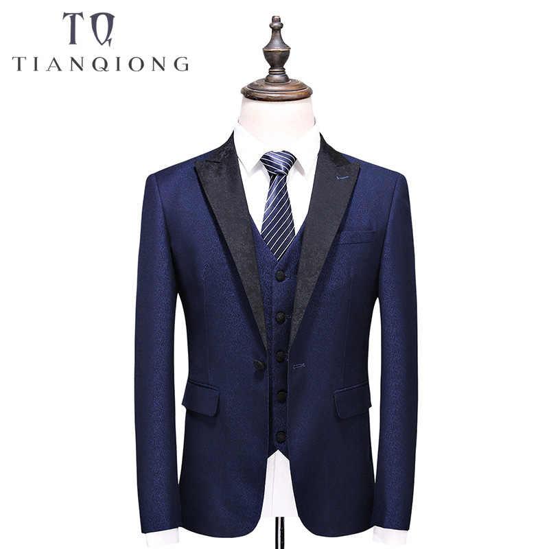 天原作ブランド男性ブルースーツ 2018 スリムフィット新郎の結婚式のスーツ男性のスタイリッシュなショール襟正式なビジネスドレススーツ QT522