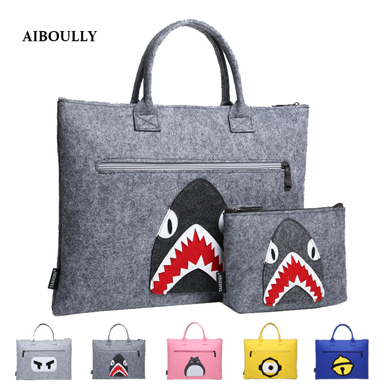 AIBOULLY Soft Wool felt Bag 11 hingga 15.6 inci Kartun Corak Laptop Sleeve Bag untuk Macbook Air Pro Retina Notebook Beg Tangan