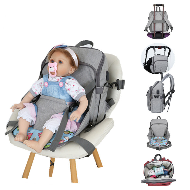 USB Charging Solid Color Mummy Backpack Baby Feeding Highchair Diaper Bag Mom Large Capacity Multifunctional Handbag MBG0208