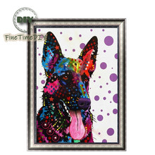 FineTime Animal Dog 5D DIY Diamond Painting Partial Round Drill Diamond Embroidery Cross Stitch Mosaic Painting finetime 5d diamond painting partial drill animal round diamond mosaic embroidery kit christmas decorations gift