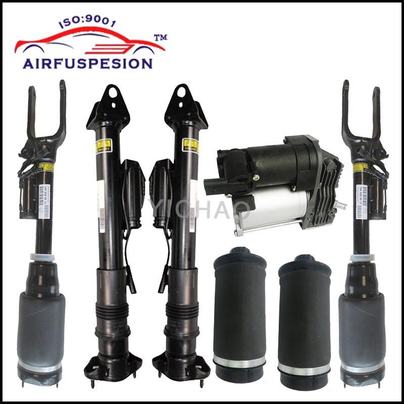1 set Ammortizzatore Sospensioni Pneumatiche Dell'ammortizzatore con GOOGLE e aria di primavera borse per Mercedes W164 X164/ML-Class compressore d'aria pompa
