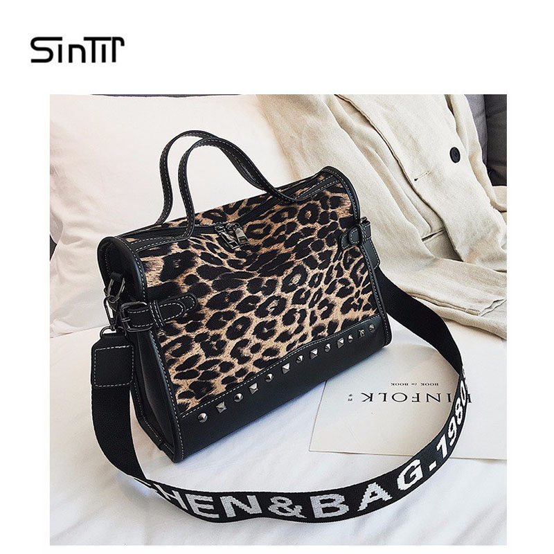 Leopard Print Large Capacity Leather Fur Women Handbag Top-handle Tote Bag Fashion Big Crossbody Bags For Women Messenger Bags coofit women s handbag unique metal ring top handle leather handbag women crossbody messenger bag tote for girls pink black bag