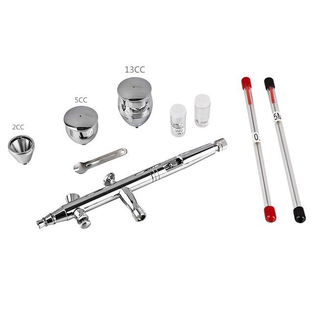 Dual Action Airbrush 0.2/0.3/0.5mm Needle Air Brush kit Spray Gun For Face Paint Airbrush Nail Henna Tattooing Art 2/5/13cc