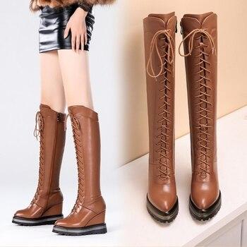 cbb06a4e2d60 Botas largas de cuero genuino para mujer fanyuan + pu con plataforma de  cuña de otoño invierno con cordones de tacón alto botas altas hasta la ...