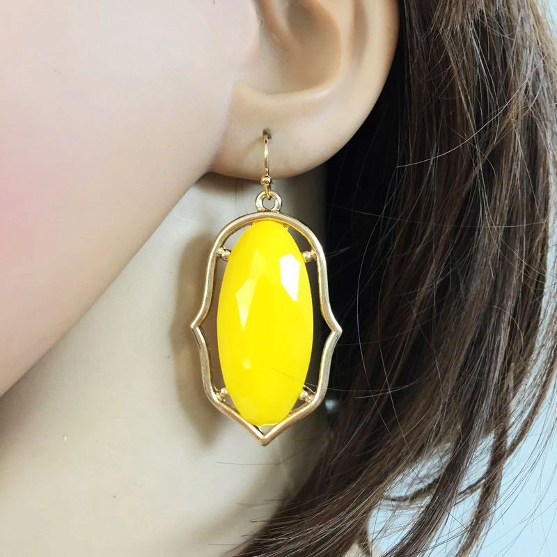 5 Colors Resin Candy Jelly Styles Crystal Dangle Earrings Imitation Earings Gold Colour Plating Women Brand Jewelry KS 73