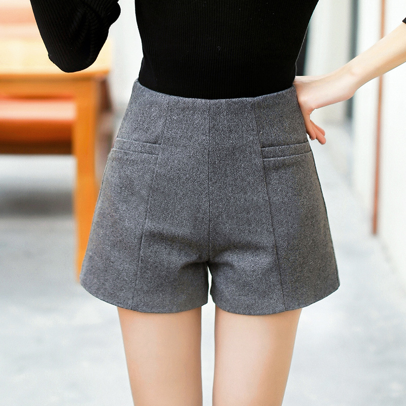 WKOUD Women Wool   Shorts   Fashion Winter   Short   Pants Zip Up Fake Cashmere High Waist   Shorts   Solid Casual Bootcuts Female DK6032