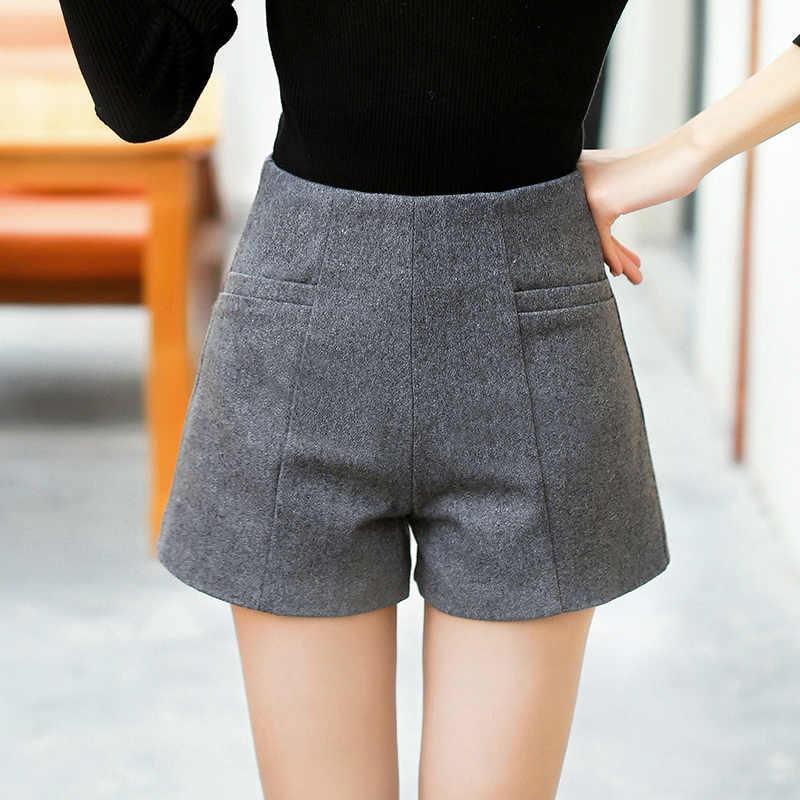 WKOUD kobiety szorty z wełny moda zima krótki spodnie Zip Up fałszywe kaszmir wysokiej talii szorty stałe na co dzień Bootcuts kobiet DK6032