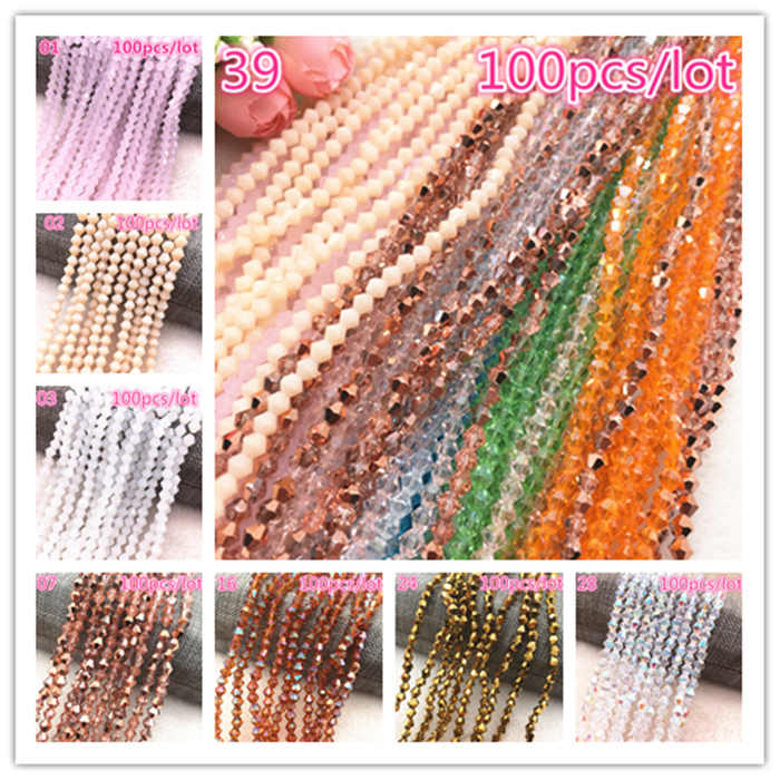 Wholesale 4mm 100pcs Austria Crystal Beads charm Glass Bead Loose Spacer Bead for Jewelry Making DIY Earrings Bracelet