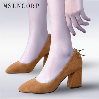 Plus Size 34-43 Sexy Genuine Leather High Heels Women Pumps Wedding Dress Shoes Woman Square heel Fashion Ladies Casual Shoes