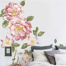 Peony Flowers Wall Sticker Watercolor Peel and Stick Painting Removable Home Decor art