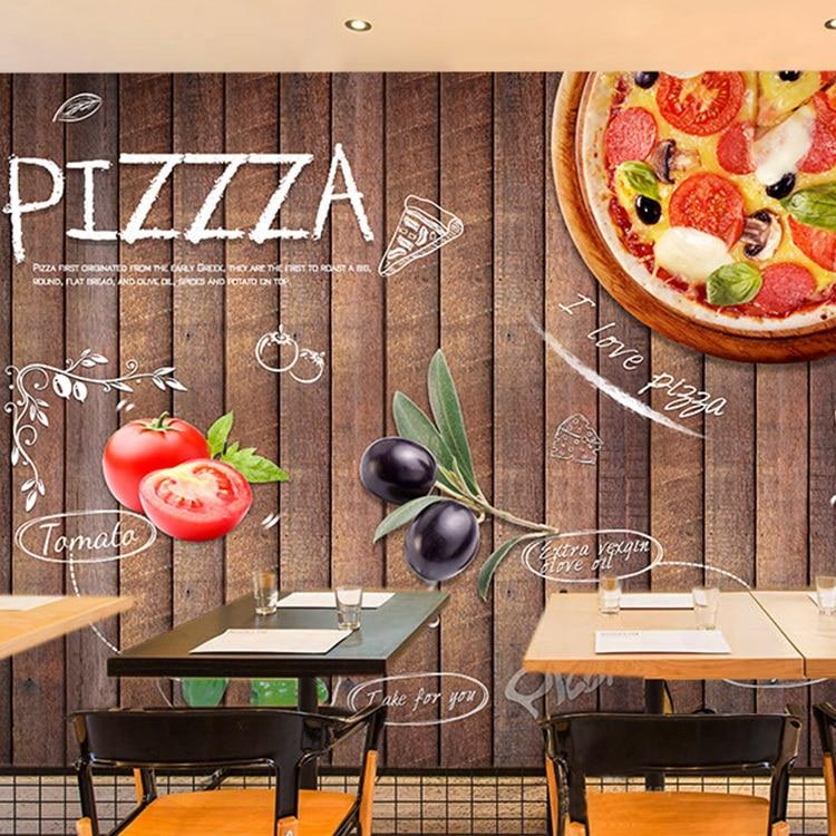 Custom board wallpaper Western style pizza theme restaurant wallpaper cake photo wallpaper coffee leisure bar large mural