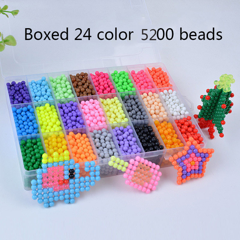 5200pcs 24 Colors DIY Water Spray Magic Aqua Hand Making 3D perler beads Puzzle Educational Toys for Children Kit Ball