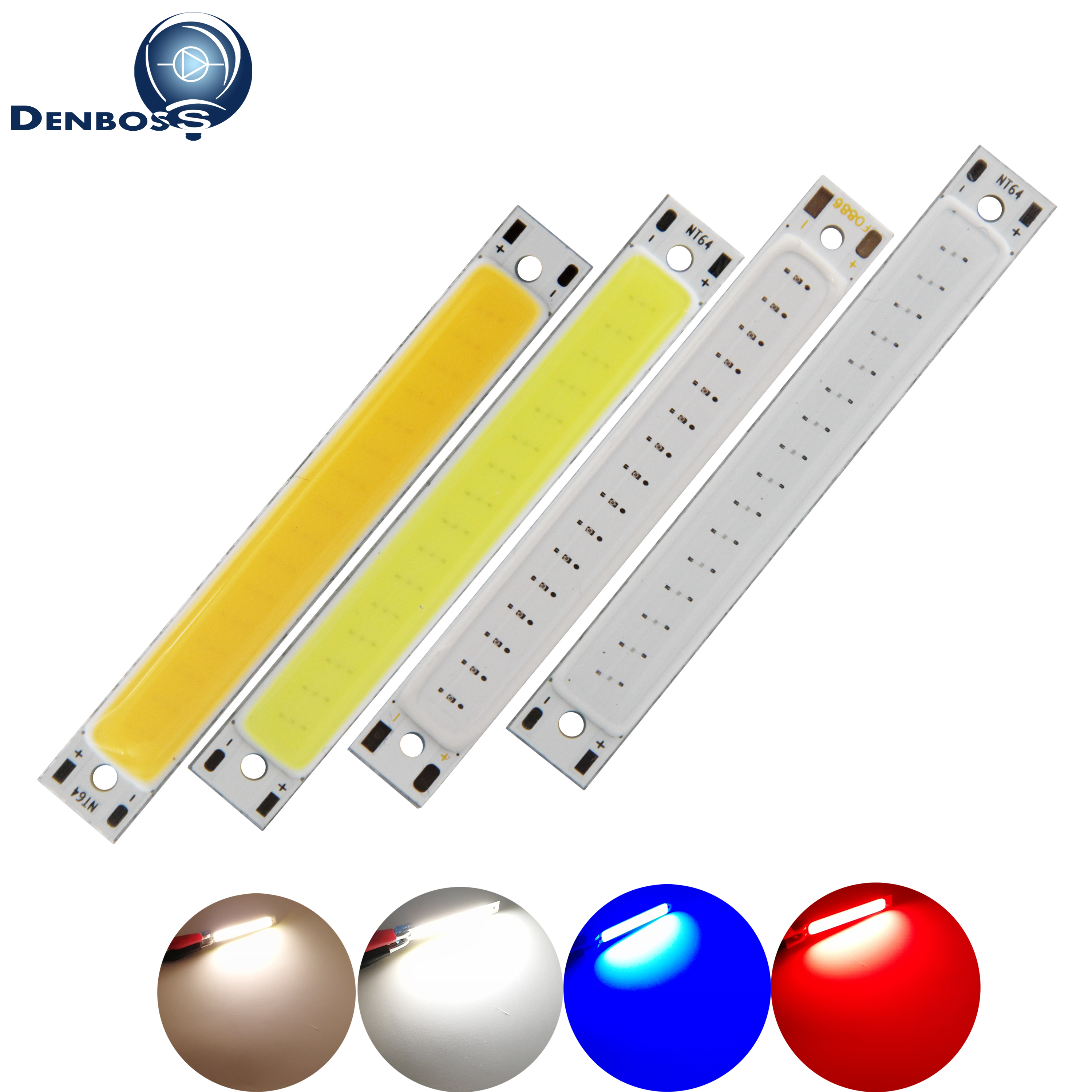 10PCS/Lot manufacturer 60x8mm 1.5W 2V 3V DC <font><b>LED</b></font> COB <font><b>Strip</b></font> for work Bike lamp Warm White Blue Red COB <font><b>LED</b></font> Light for DIY Bulb image