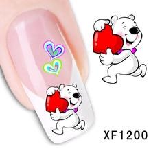 love cartoon bear design Water Transfer Nails Art Sticker decals girl women manicure tools Nail Wraps Decals wholesale XF1200 стоимость