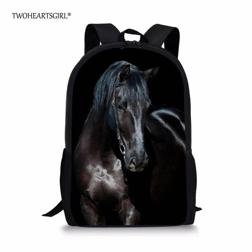 3D Animal Horse Satchel Backpack Women School Bag Rucksack For Teenagers Boys