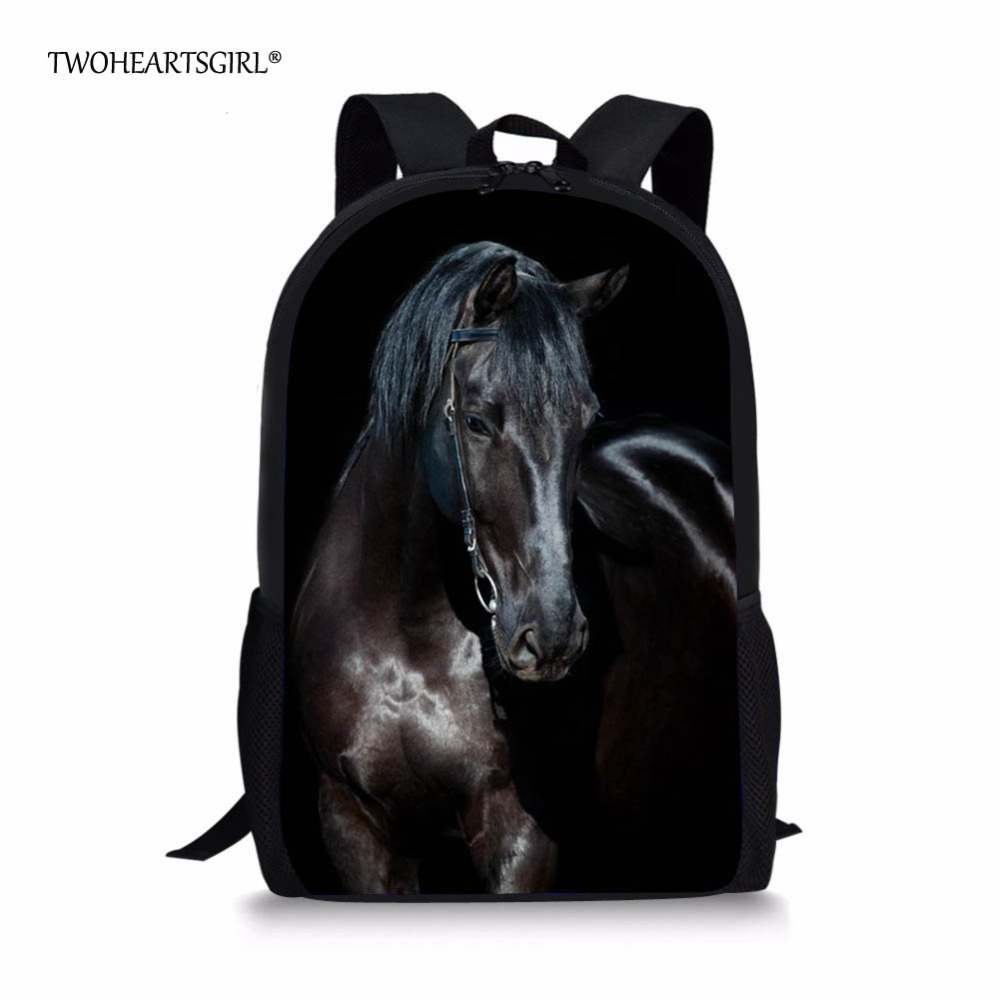 Twoheartsgirl Black Crazy Horse School Bag For Teenager Boys Girls Unique 3d Children Kids Book Bag Print Animal Schoolbags