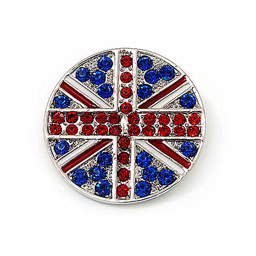 UK Flag Union Jack Brooch Red and Royal Blue Rhinestone Diamante Round Shape Party Brooches and Pins