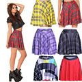 2016 New S 2XL 3XL 4XL England Style Red Plaid Printed Women Skater Skirts Yellow Black Purple Red Colors Classic Skirts