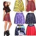 2016 Nueva S 2XL 3XL 4XL Estilo de Inglaterra A Cuadros Rojos impreso Mujeres Skater Faldas Amarillo Negro Colores Rojo Púrpura Clásica faldas