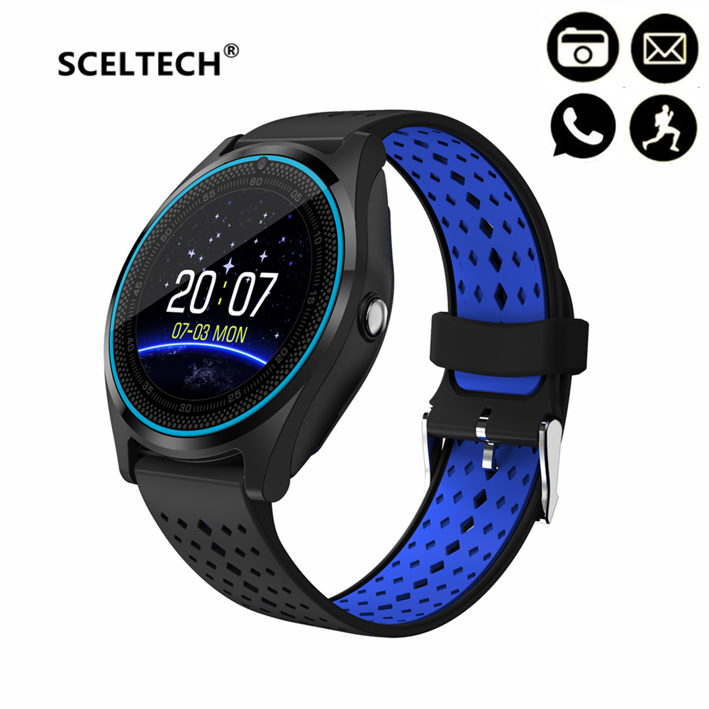 SCELTECH V9 Smart Watch With Camera Bluetooth Smartwatch SIM Card Wristwatch for Android Phone Wearable Devices PK Q18 X6 DZ09 bluetooth smart watch with camera v9 smartwatch sim card wristwatch for android phone wearable devices pk dz09 a1 gt08
